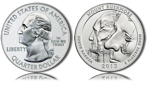 2013 Mount Rushmore Silver Coin