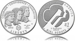 Girl Scouts Commemorative Silver Dollar (US Mint images)