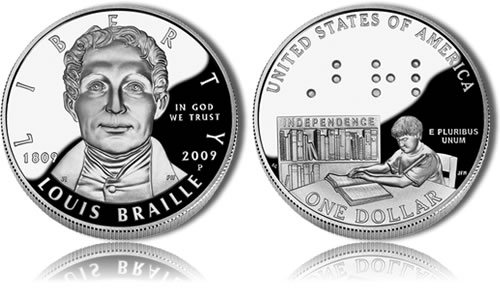 Proof 2009 Louis Braille Silver Dollar Commemorative Coin