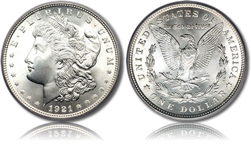 ... silver Morgan Dollar which was produced between 1878-1904 and then