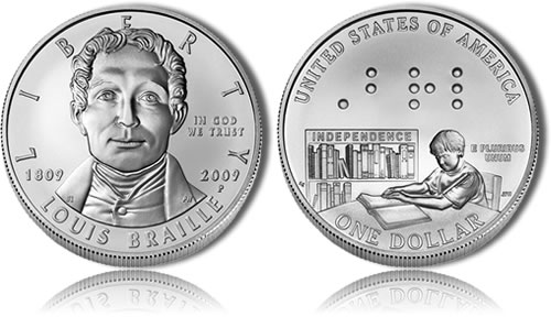 Uncirculated 2009 Louis Braille Silver Dollar Commemorative Coin