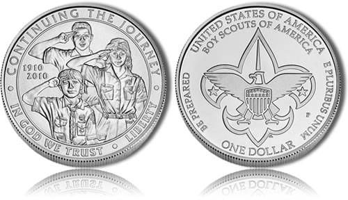 Uncirculated 2010 Boy Scouts Silver Dollar Commemorative Coin