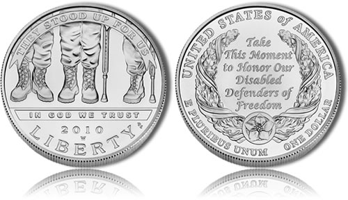 Uncirculated 2010 Disabled American Veterans Silver Dollar Commemorative Coin