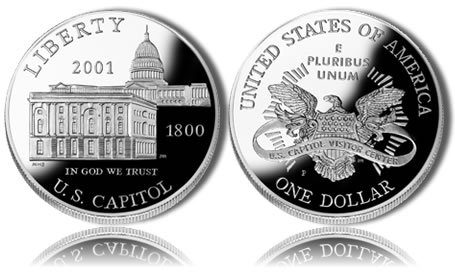 2001-P Proof Capitol Visitor Center Silver Dollar Commemorative Coin