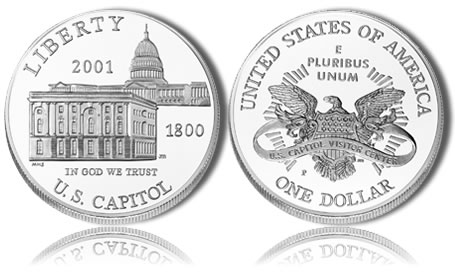 2001-P Uncirculated Capitol Visitor Center Silver Dollar Commemorative Coin