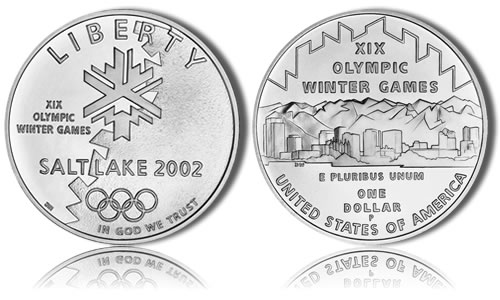 2002-P Uncirculated Olympic Salt Lake City Silver Dollar Commemorative Coin