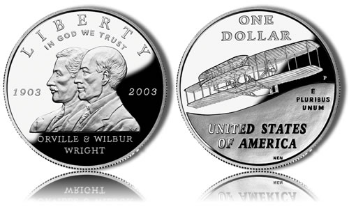 2003-P Proof First Flight Silver Dollar Commemorative Coin