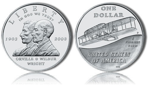 2003-P Uncirculated First Flight Silver Dollar Commemorative Coin