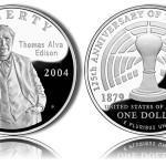 2004 Thomas Edison Silver Dollar Commemorative Coins