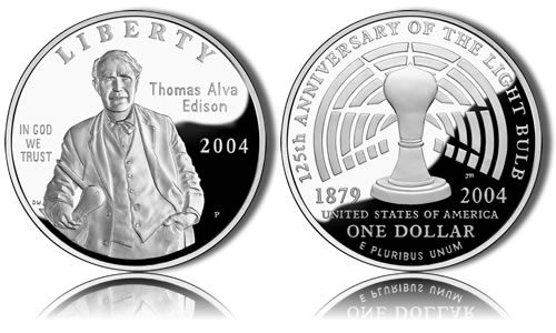 2004-P Proof Thomas Edison Silver Dollar Commemorative Coin