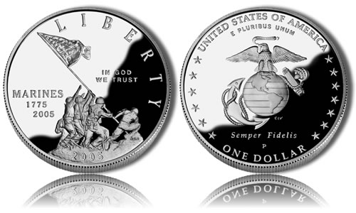 2005-P Proof Marine Corps Silver Dollar Commemorative Coin