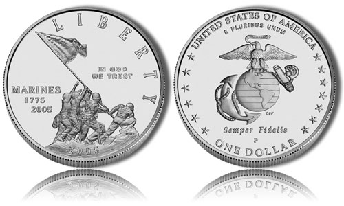 2005-P Uncirculated Marine Corps Silver Dollar Commemorative Coin
