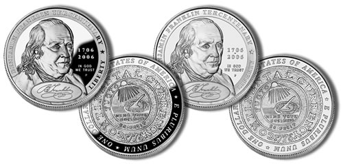 2006-P Founding Father Benjamin Franklin Silver Dollar Commemorative Coins