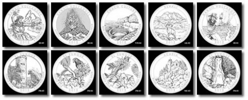 2012 America the Beautiful 5 Ounce Silver Bullion Coin Designs