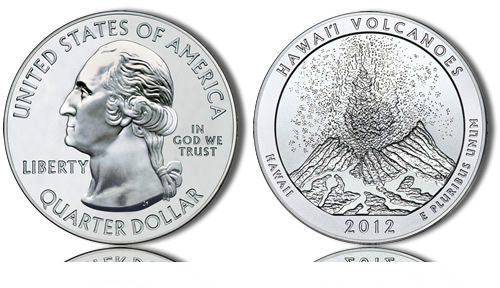 2012 Hawaii Volcanoes Silver Coin
