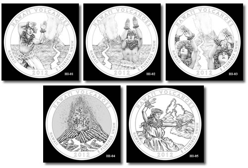Hawaii Volcanoes Silver Bullion Coin Design