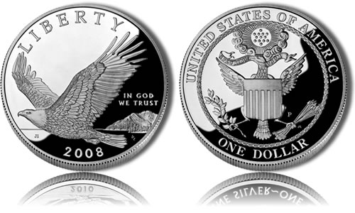 Proof 2008 Bald Eagle Silver Dollar Commemorative Coin